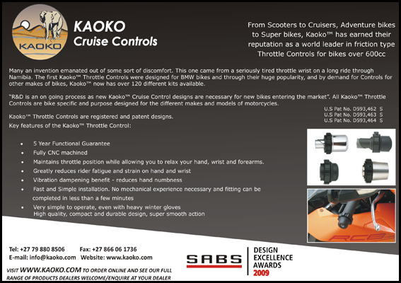 Image showing information about the Kaoko cruise control