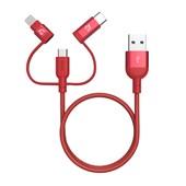 PeAk II Trio 30B - USB to Lightning/microUSB/USB-C Braided 0.3m - Red